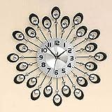Ldlsz Reloj Reloj de Diamante Negro, Reloj de Pared de Hierro Forjado silencioso Creativo Creativo, Reloj de Pared de Cristal Grande con dial 3D