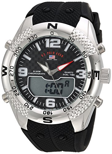 U.S. Polo Assn. Men's Quartz Metal and Rubber Casual Watch, Color:Black (Model: us9662)