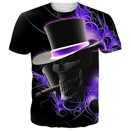 3D Druck Kurzarmhemd Herren, DoraMe Männer Jungen Große Größe Realistische Pullover Sportlich Bluse Sommer T-shirt Tops (Violett, Asien...