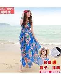 El tiempo de vacaciones de verano caliente de Bohemia de gasa falda falda falda larga playa