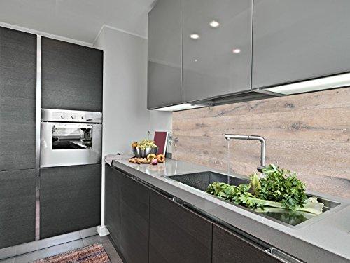 Küchenrückwand aus Aluverbund 250cm x 62,25cm x 3mm (Breite x Höhe x Dicke) und Dekor Landhaus Eiche weiss geölt