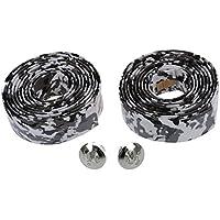 TOOGOO(R) Bicicleta de carretera / cinta de manillar de corcho de bicicleta / envoltura (blanco con negro)