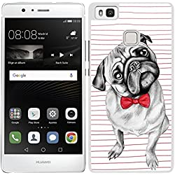 Funda carcasa para Huawei P9 Lite perro carlino con pajarita borde blanco