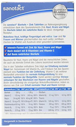 sanotact Bierhefe + Zink Tabletten - 60 Stk., mit Zink für schönes Haar, gesunde Haut und kräftige Nägel, vegan