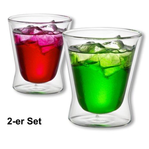 Trinkglas Thermoglas Heiß- und Kaltgetränke (doppelwandig) - für Tee, Kaffee, Latte Macchiato, Säfte Set 2 Stück (doppelwandige Gläser, 240ml (2-Stück)