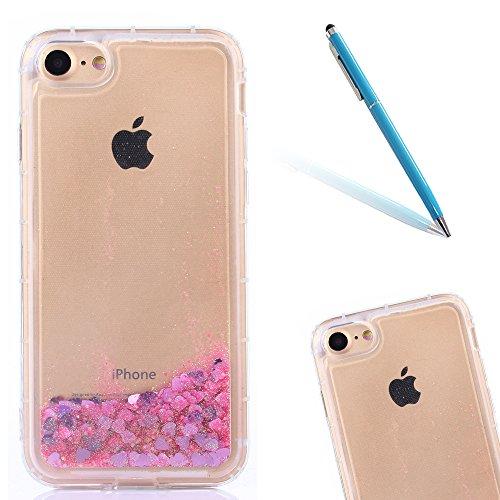 iPhone 6sPlus Handyhülle, CLTPY iPhone 6Plus Durchsichtig TPU Schutzfall Luxus Sparkling 3D Dynamisch Bunter Stern Treibsand Fließen Liquid Case für Apple iPhone 6Plus/6sPlus + 1 x Freier Stylus Hell-Pink