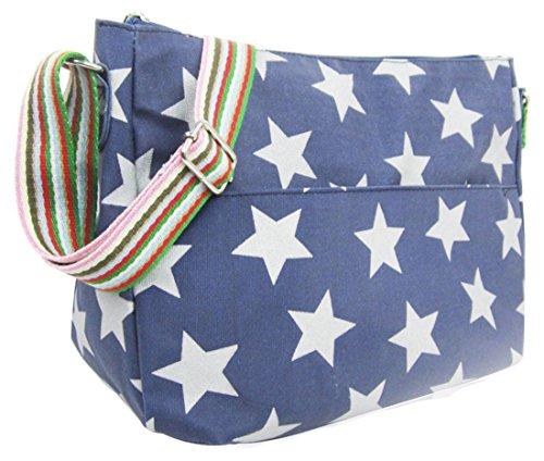 Kukubird vari Poodle farfalla fiori stelle polkadots pattern & Rainbow Strap Sling crossbody Messenger scuola palestra Bag Stars Navy Blue