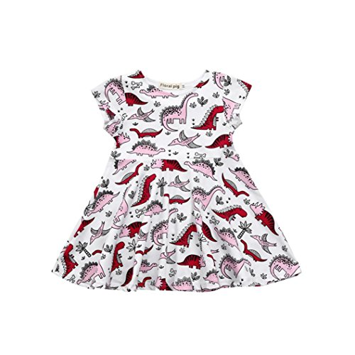 SHOBDW Girls Dresses, Kids Baby Cute Cartoon Dinosaur Print Sun Short Sleeve Dress Clothes Toddler Summer Outfits (0-1 Years, White)