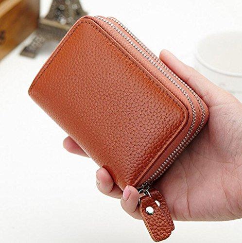 MeiliYH RFID Donna Vera Pelle Portafoglio Porta Carte di Credito doppio Cerniera un zero portafogli borsa (viola) blu