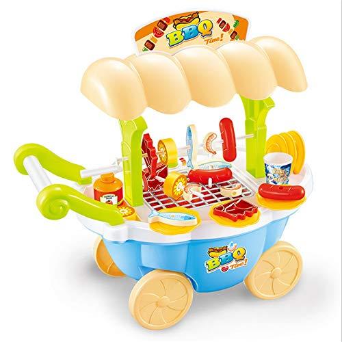 Puppenhaus Pretend Play Lebensmittel BBQ Hot Dog Fisch Fleisch Wagen Trolley Set Spielzeug mit Musik und Beleuchtung für Kinder und Mädchen Pretend Play Spielzeug Puppenhausmöbel und Zubehör gehören