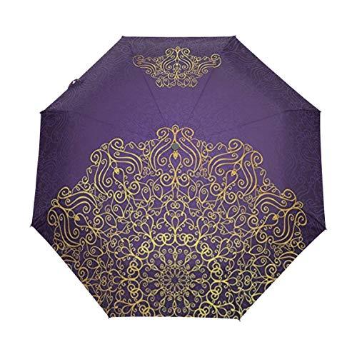 Soloatman Paraguas de Vinilo con Mandala de Color Dorado, automático, Abierto y Cerrado, Resistente al Viento, Plegable, para Hombres y Mujeres