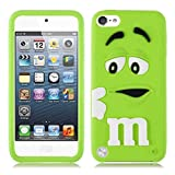 Robinhood99� M&M Chocolate Beans 3D Silicone Gel Apple iPod Touch 6 6th Generation M & M Case (Green)