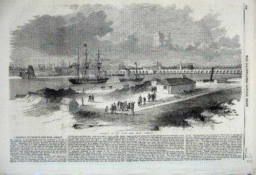 Old Original Antik viktorianischen Print 1859Öffnung Bute East Dock Cardiff Brücke Viadukt Schiff