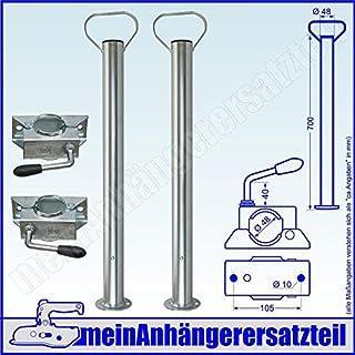 700mm / 70cm Stützrohre Anhängerstützen Stützfüße inkl. Klemmhalter für Pkw Anhänger