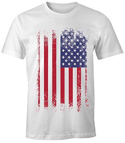MoonWorks Herren T-Shirt - Amerika Flagge USA Flag United States of America - Comfort Fit weiß 3XL