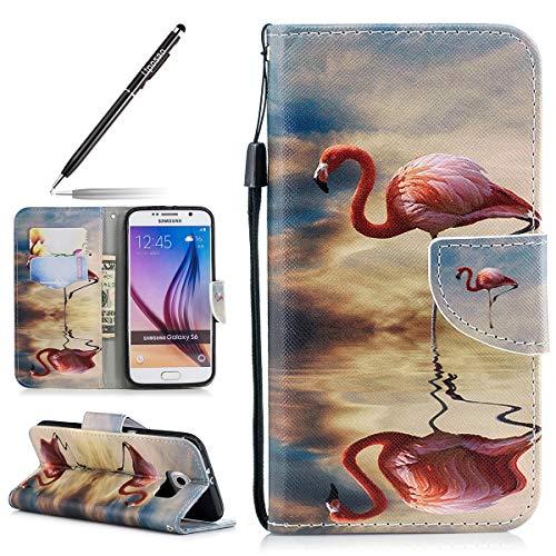 Uposao Handyhülle für Samsung Galaxy S6 Schutzhülle Lederhülle Schöne Muster Klapphülle Klappbar Handytasche Brieftasche Book Case Leder Tasche Dünn Flip Cover,Rosa Flamingo