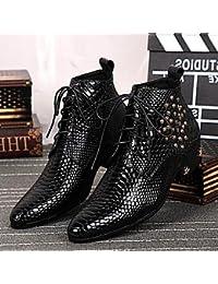 Love & zapatos hombres zapatos de Amir 2016Pure Manual limitada serpiente líneas boda/oficina/Fiesta de vacuno piel moda botas negro