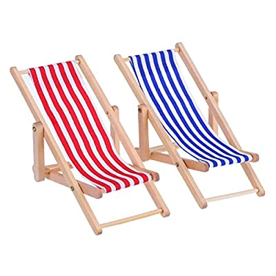 Bememo 2 Pieces 1:12 Miniature Foldable Wooden Beach Chair Chaise Longue Deck Chair Mini Furniture Accessories with Red/ Blue Stripe for Indoor Outdoor - low-cost UK light store.