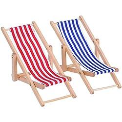 2 Piezas 1:12 Silla de Playa de Madera Plegable de Miniatura Tumbona Mini Muebles Accesorios con Raya Roja/ Azul para Interior Exterior