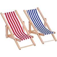 blau Haus Outdoor M/öbel Zubeh/ör Deanyi Miniatur-Puppenhaus Faltbare h/ölzerne Strand Chaiselongue Chairs mit Streifen rot