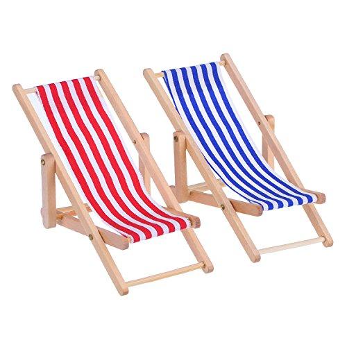 Bememo 2 Pièces 1:12 Miniature Chaise de Plage Pliable en Bois Chaise Longue Mini Accessoires pour Meubles avec Rayure Rouge/Bleu pour Intérieur Extérieur