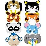 Paquete de 8máscaras de animales RUIISTU con diseños variados de goma EVA