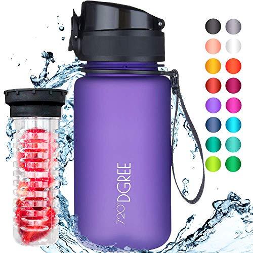 """720°DGREE Trinkflasche """"uberBottle"""" - 350 ml, 0,35 l, Violett, Lila - Neuartige Tritan Wasser-Flasche - Water Bottle BPA Frei - Ideale Sportflasche für Kinder, Fitness, Fahrrad, Sport, Fussball thumbnail"""