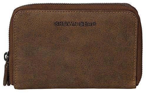 Brown Bear Geldbörse Damen Leder Braun Vintage Reißverschluss hochwertig Frauen Geldbeutel Portemonnaie Frauen Portmonee Portmonaise