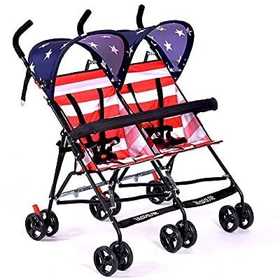WYX-Stroller Cochecito De Gemelos Ultraligero, Cochecito Doble Portátil, Cochecito De Bebé para Gemelos, Coche De Paraguas para Niños De 2 Asientos