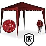 Pabellón Capri 3x3 m color rojo vino – Carpa Plegable Tienda de Jardín Protección Solar Pop Up