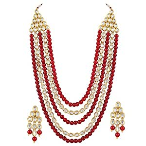 Shining Diva Red Kundan Party Wear Traditional Necklace Jewellery Set with Earrings for Women