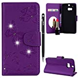 HTC One M8 Hülle,HTC One M8 Handyhülle Leder,WIWJ Wallet Case[Diamant Schmetterling Blume Ledertasche Mit Spiegel]Schutzhüllen für HTC One M8-Lila