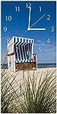 Wallario Design Wanduhr Strandkorb aus Acrylglas, Größe 30 x 60 cm, weiße Zeiger