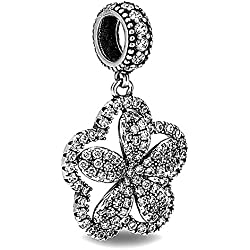 Belleza encanto plata de ley 925Circonita Flor colgante DIY encanto Joyería Colgante Pandora cadena o pulsera