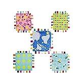 ICYANG 5 Stück Infant Schmusedecke,Niedliche Baby Sicherheitsdecke Einschlagdecke Handtuch,Ultra Soft Kuscheltuch Plüsch Spielzeug(11.81X11.81Zoll, rosa Blume, großer Punkt, kleiner Punkt, Automobilflugzeug, Himmel u. Wolken Muster)