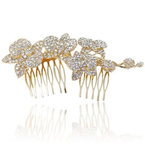 Flyonce Frauen Österreichische Kristall 5 Zoll Hochzeit Orchidee Blume Knospe Haar Seite Kamm Klar Gold-Ton -