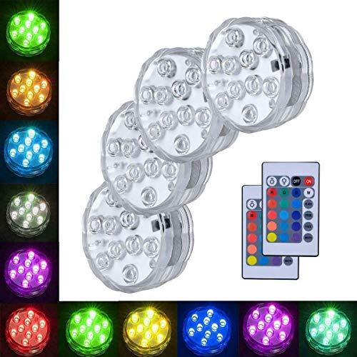 4X Fernbedienung farbige LED Boundery Style wasserdichtes Licht EFX Akzent für Fisch Schüssel Licht ferngesteuerte kleine Led-Leuchten für Aquarium Vase Basis Teich Hochzeit Halloween-Party -