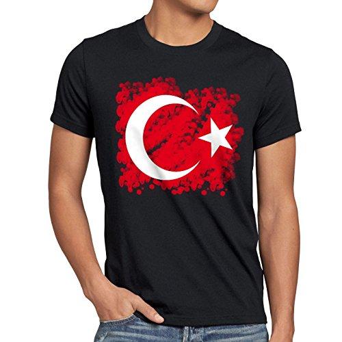 CottonCloud Türkei Herren T-Shirt Turkey Türkiye Flagge Mondstern, Größe:M;Farbe:Schwarz
