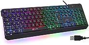 KLIM Chroma Gaming Tastatur QWERTZ DEUTSCH mit Kabel USB + Langlebig, Ergonomisch, Wasserdicht, Leise Tasten +