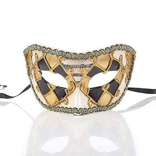 YCWY Vintage venezianische Augenmaske, venezianische Partei Kostüm Maskerade Maske handgemachte Goldmaske Halloween Cosplay Maske für Ball Prom,Gold