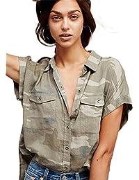 Armée Militaire Camo Camouflage Imprimé Poche Boutonnée Boutonné Boutons Sur Le Devant Manches Courtes T-Shirt Blouse Chemisier Shirt Chemise Haut Top Gris