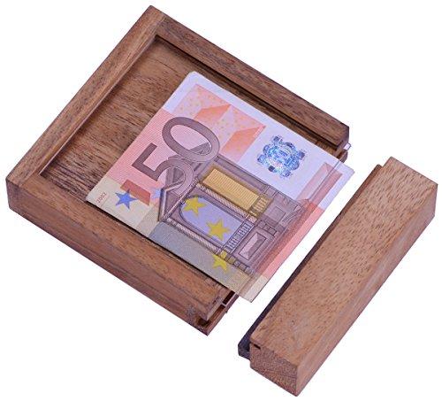 Money - Der Geldschein-Tresor - für Geldgeschenke in schöner Verpackung - Trickkiste - Denkspiel - Knobelspiel - Geduldspiel - Logikspiel aus Holz (Kinder Geld Sicher)