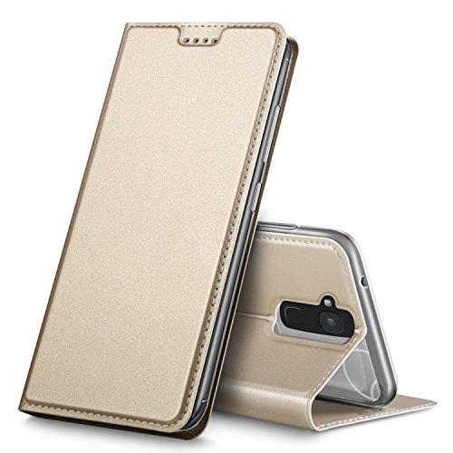 BQ Aquaris VS Hülle, GeeMai Premium Flip Case Tasche Cover Hüllen mit Magnetverschluss [Standfunktion] Schutzhülle Handyhülle für BQ Aquaris VS Smartphone, Gold