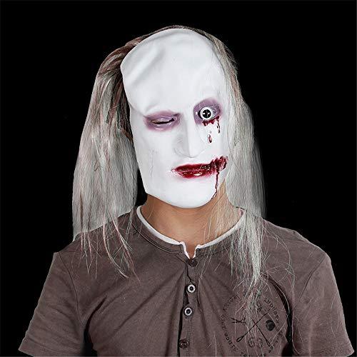 en Latex Horror Maske Leder Maske Ghost Maske Horror, braunes Haar Links Auge Ghost ()
