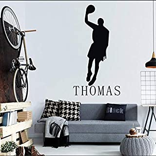 Wandaufkleber Basketballspieler Wohnkultur personalisiert Name Junge Zimmer Vinyl Art Deco Dekoration