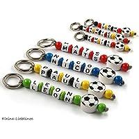 Schlüsselanhänger mit Namen - handmade - Kinder - Erwachsene - Taschenbaumler - Fußball - Schlüsselring - GRATIS Versand - verschiedene Farben - Schlüsselanhänger mit Gravur