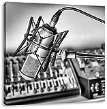 Monocrome, Mikrofon mit Musikanlagen, Format: 70x70 auf Leinwand, XXL riesige Bilder fertig gerahmt mit Keilrahmen, Kunstdruck auf Wandbild mit Rahmen, günstiger als Gemälde oder Ölbild, kein Poster oder Plakat