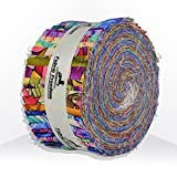 "Fabric Freedom Ocean Waves Theme 100% Printed Cotton Jelly Roll Strippers Pack 40 Strips 2.5"" Width x 43"" Length Approx 2.5 Metres Quilting Patchwork Craft Fabric Strips Modern Quilt Pattern Bundles for Easy Quilts."
