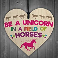 RED OCEAN Be A Unicorn In Horses Novelty Wooden Hanging Heart Plaque Gift Friends Sign