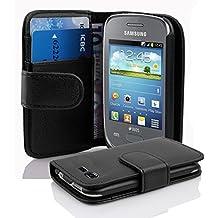 Cadorabo - Funda Samsung Galaxy POCKET NEO (GT-S5310) Book Style de Cuero Sintético en Diseño Libro - Etui Case Cover Carcasa Caja Protección con Tarjetero en NEGRO-ÓXIDO